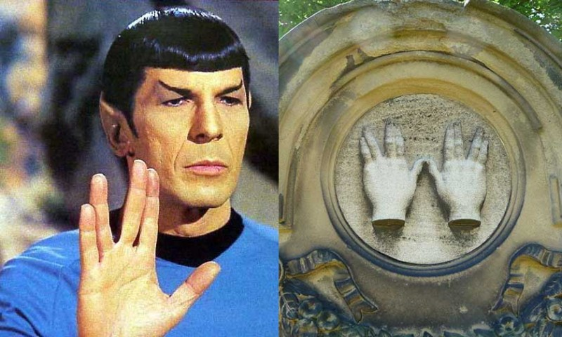 Spock's hand sign is based on the way the priests held their hands while blessing the people